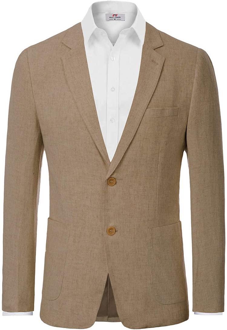 PJ PAUL JONES Men's Slim Fit Lightweight Linen Jacket Tailored Blazer