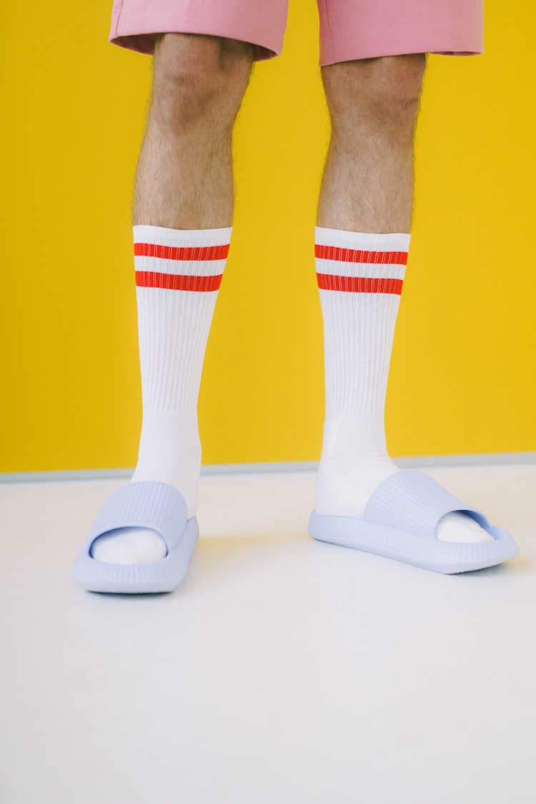 man wearing slides