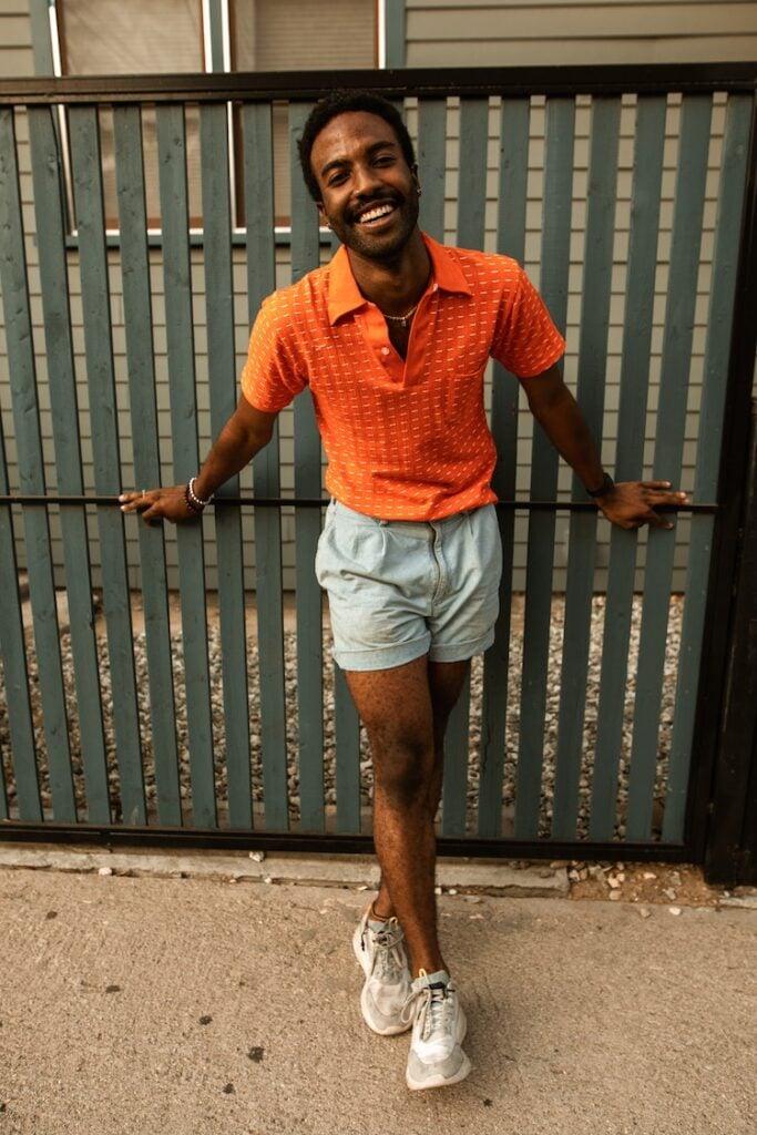 men wearing denim shorts